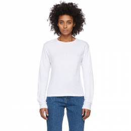 Re/done White Heritage Long Sleeve T-Shirt 024-2WLST1