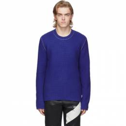 Helmut Lang Blue Wool Overwashed Felted Sweater J09HM703
