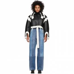 Black and White Short Cowboy Collar Coat Lecavalier FW19-20 - VE02