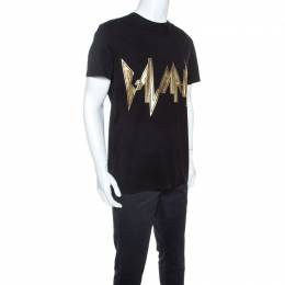 Balmain Black Cotton Gold Logo Relief T-shirt L