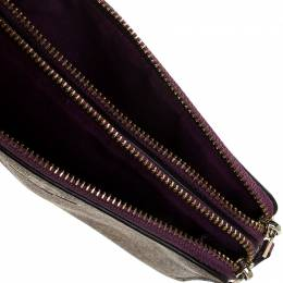 Coach Beige/Purple Signature Coated Canvas Double Zip Wristlet Wallet