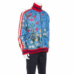 Gucci Blue New Floral Print Jersey Track Jacket XL 245964
