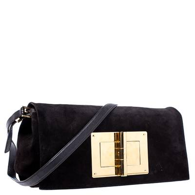 Tom Ford Dark Brown Nubuck Leather Natalia Convertible Clutch - 2