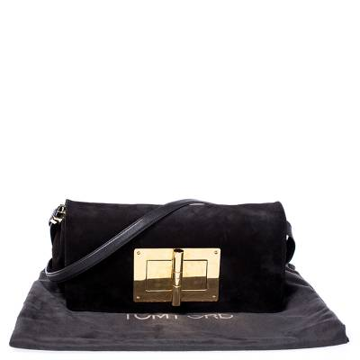 Tom Ford Dark Brown Nubuck Leather Natalia Convertible Clutch - 8