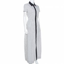 Oscar de la Renta White Flower Print Cotton Contrast Trim Shirt Dress S 246175