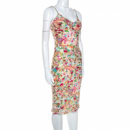 Christian Dior Multicolor Floral Print Silk Slip Dress S 245285