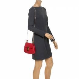 Chloe Red Leather and Suede Small Drew Shoulder Bag 244355