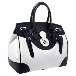 Ralph Lauren White/Black Canvas and Leather Ricky Tote 246117