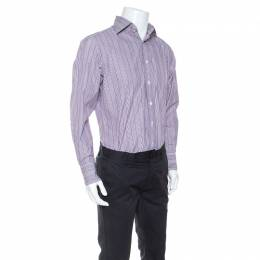 Tom Ford Purple Striped Cotton Button Front Long Sleeve Shirt L 247140
