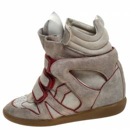 Isabel Marant Grey Suede with Metalllic Red Leather Trim Bekett Wedge Sneakers Size 38 247965