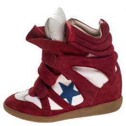 Isabel Marant Red/White Suede and Canvas Bayley Star High Top Sneakers Size 38 247958