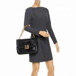 Versace Black Leather and Patent Leather Chain Flap Shoulder Bag