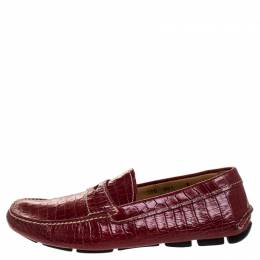 Prada Red Croc Embossed Leather Penny Loafers Size 40 247523