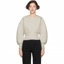 Alexander Wang White Wool Pearl Necklace Pullover 201187F09623302GB