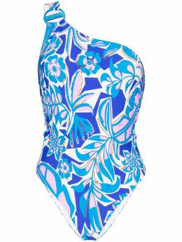 Emilio Pucci	 one shoulder printed swimsuit 0EMC200E778