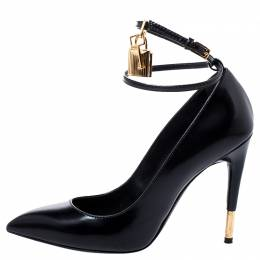 Tom Ford Black Patent Leather Padlock Ankle Wrap Pointed Toe Pumps Size 37.5 248051