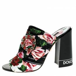 Dolce and Gabbana Multicolored Charmeuse Printed Fabric Bejeweled Buckle Mules Size 39 248793