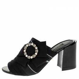Dolce and Gabbana Black Satin Crystal Embellished Bow Open Toe Mules Size 39 248547