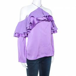 Emilio Pucci	 Purple Satin Ruffled Detail Off Shoulder Top S 247816