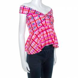 Peter Pilotto Pink Printed Cotton Poplin Off Shoulder Top L 247811