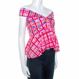Peter Pilotto Pink Printed Cotton Poplin Off Shoulder Top L 247809