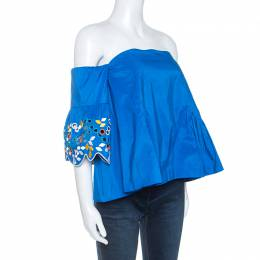 Peter Pilotto Blue Taffeta Embroidery Detail Belted Off Shoulder Top M 247843