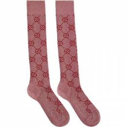 Gucci Pink and Red Lame GG Socks 476525 3G199