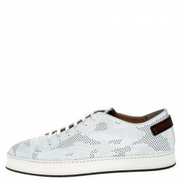 Santoni White Perforated Leather Low Top Sneakers Size 39.5 249027
