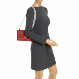 Dolce and Gabbana Red Leather DG Girls Chain Shoulder Bag 248498