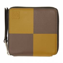 Loewe Yellow and Taupe Square Zip Wallet 103.01.M88
