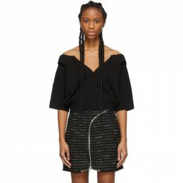 Alexander Wang Black Wool Tulle Illusion Polo Sweater 1KC1201104