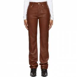 Helmut Lang Brown Leather Masc High Straight Trousers J09DW201