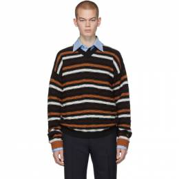 MARNI Black and Orange Stripe V-Neck Sweater 201379M20600402GB