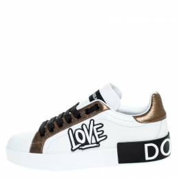 Dolce and Gabbana White/Gold Leather Portofino Low Top Sneakers Size 36 249698
