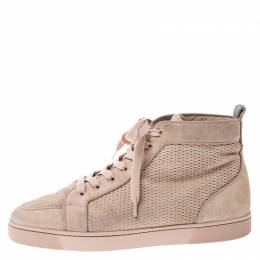 Christian Louboutin Beige Suede High Top Lace Up Sneakers Size 45 249196