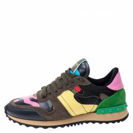 Valentino Multicolor Camouflage Canvas and Leather Rockrunner Sneakers Size 37 249535
