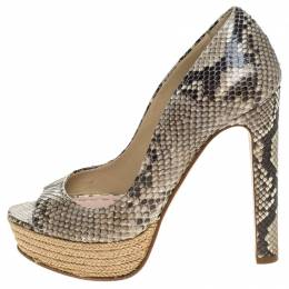 Miu Miu Two Tone Python Leather Espadrille Peep Toe Platform Pumps Size 37 246933