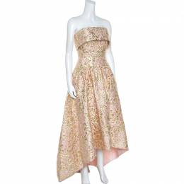Oscar de la Renta Pink and Gold Brocade Strapless Asymmetrical Dress S 247889