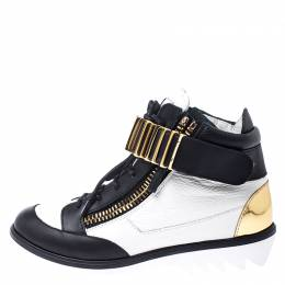 Giuseppe Zanotti White/Black Leather Metal Embellished Strap High Top Sneakers Size 37.5 249321