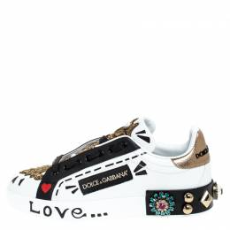 Dolce and Gabbana Multicolor Leather Portofino Low Top Sneakers Size 35.5 249238