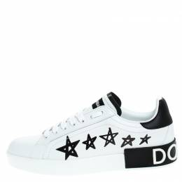 Dolce and Gabbana White/Black Leather Portofino Low Top Sneakers Size 37.5 249301