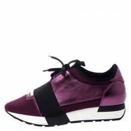 Balenciaga Metallic Purple Leather, Nylon And Mesh Race Runner Sneakers Size 37 249165