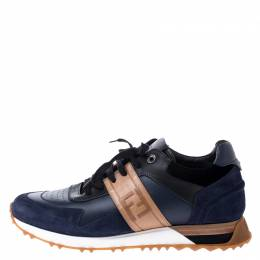 Fendi Blue Suede and Leather FF Logo Band Lace Up Sneakers Size 42 249166