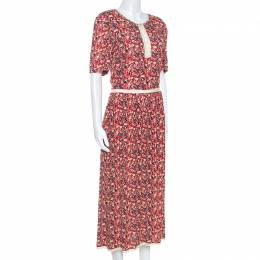 Zadig & Voltaire Red Floral Print Lace Trimmed Rivale Midi Dress M 248570