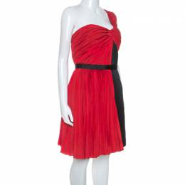 Jason Wu Red Crepe Pleated One Shoulder Dress L 248573