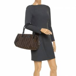 Dkny Brown/Black Monogram Canvas and Leather Boston Bag 246971
