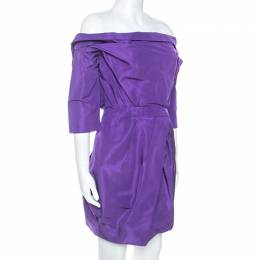 Vera Wang Purple Silk Crystal Embellished Off Shoulder Dress L 248560