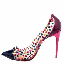 Christian Louboutin Multicolor Patent and PVC Spike Me Pumps Size 38 248234
