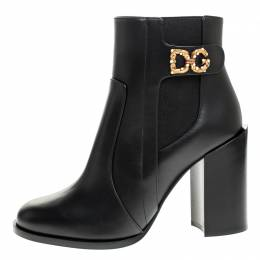 Dolce and Gabbana Black Leather Logo Detail Ankle Boots Size 39 248720