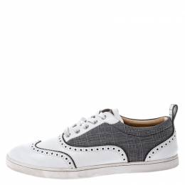 Christian Louboutin White/Black Leather And Check Canvas Brogue Sneakers Size 43 249357